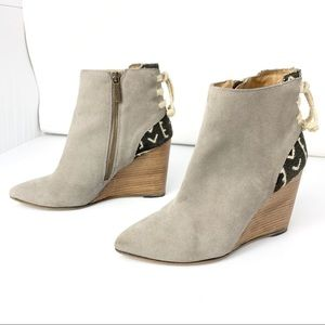 Howsty for Anthro Gray Suede Wedge Kilim Booties